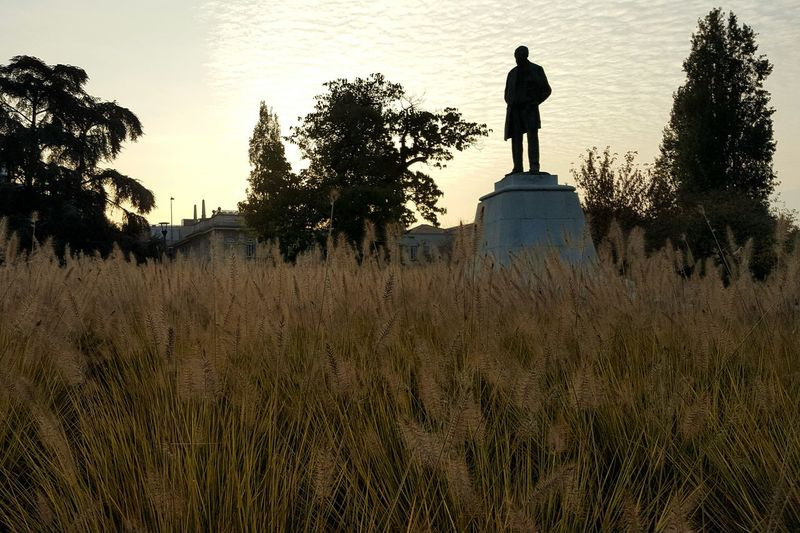 Silhouette Outdoors Sky Grass Horizontal Statue Day No People Urban Nature Nature In The City Cityscapes Park Golden Hour Nature Morning Sunrise