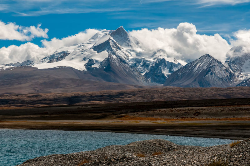 Snowcapped mountains and turquoise color lake landscape in tibet, china