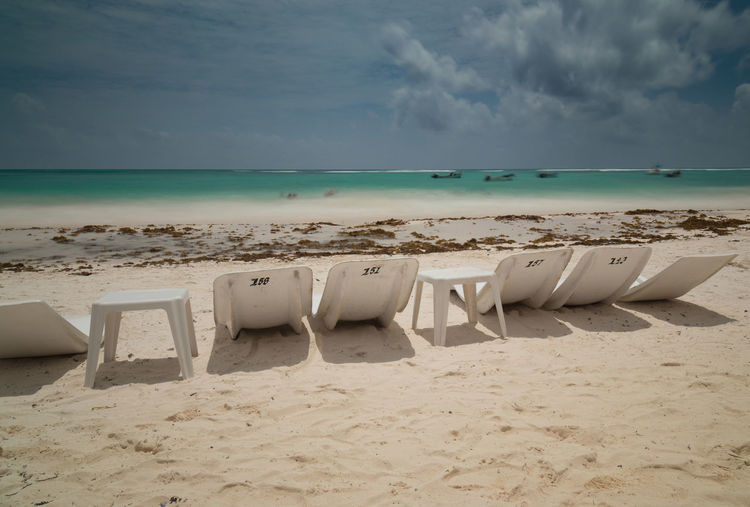 Time passes slowly when relaxed Xpu-ha Beach Beauty In Nature Caribbean Chair Cloud - Sky Day Horizon Horizon Over Water Land Nature No People Non-urban Scene Sand Scenics - Nature Sea Seat Sky Timelapse Tranquil Scene Tranquility Turquoise Colored Water
