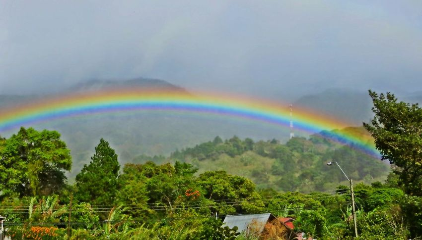 rainbow in Boquete Panama Panamá Boquete Rainbows Natural Beauty Clouds And Sky Landscapes Traveling Cloud_collection  Mountains And Sky Misty