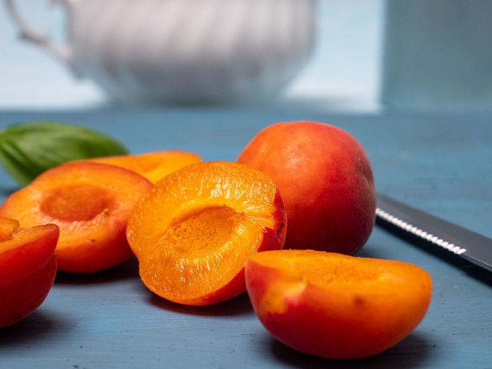 Close-up of orange on table