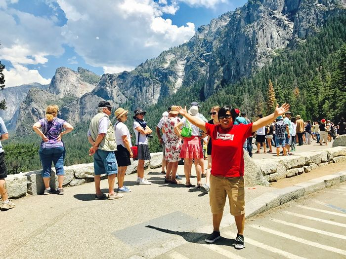 happy people and the view Mountain Sky Real People Leisure Activity Mountain Range Day Full Length