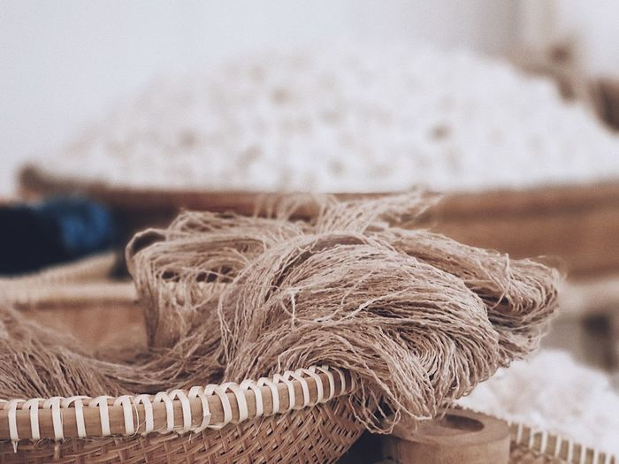 Close-up of rope in basket