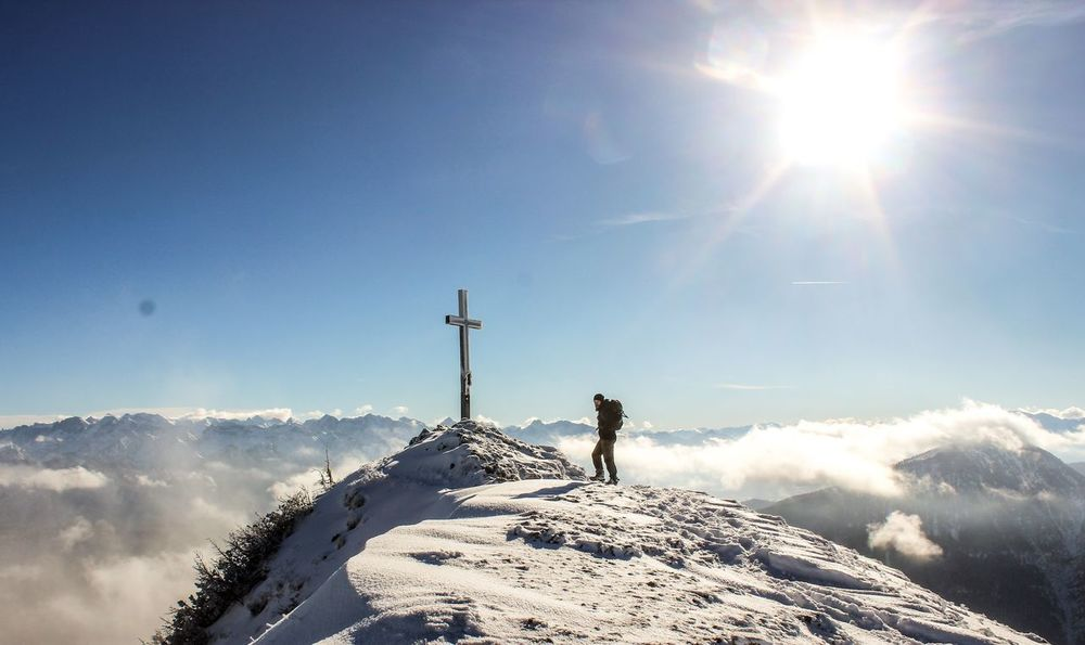 Sunlight Sky Sun Standing Day One Person Outdoors Clear Sky Connection People Nature Sunbeam Mountains Summit Berge Wonderful_places Beautiful Nature Awesome Nature Bergwelten Awesomeearth Adventure Only Men Young Adult Teamwork One Man Only