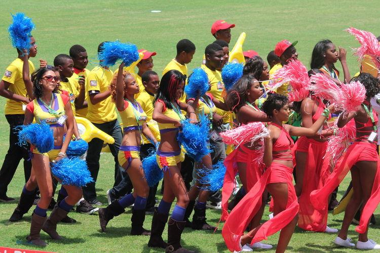 Cricket Field Joyful Kingston, Jamaica Sabina Park Cheerleader Jamaica Large Group Of People Leisure Activity