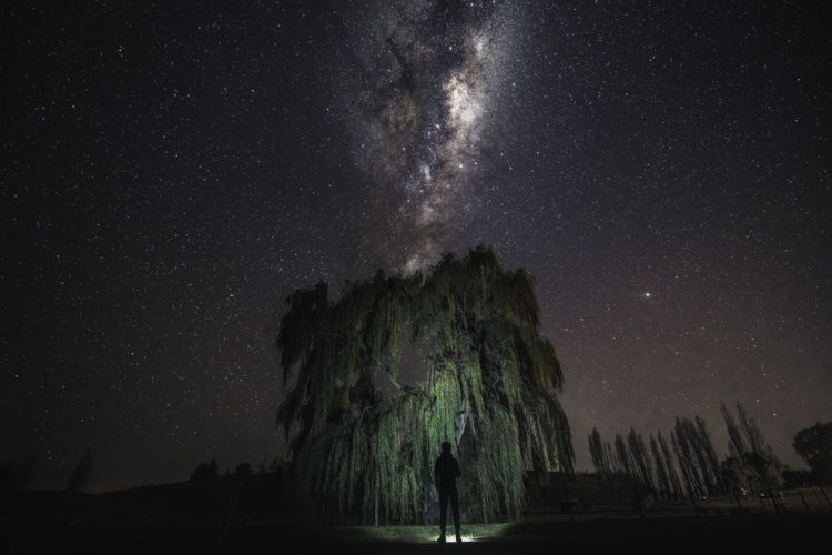 Rear view of silhouette man standing on field against star field at night