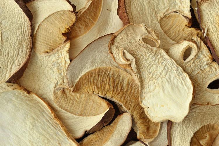 Dried porcini mushrooms background Autumn Boletus Edulis Natural Nature Porcini Porcini Mushrooms Vegetarian Food Background Closeup Dried Edible  Food Fungus Healthy Eating Ingredient Macro Mushroom Organic Selenium Sliced Summer Texture Vegan Food Vegetable Wild
