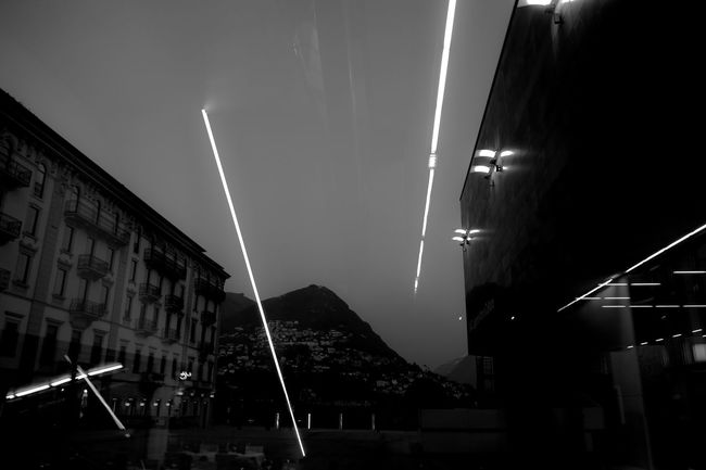 Architecture Landscape Light Low Angle View Lugano Mountain Night No People Outdoors Panorama Reflections, Sky, Trees And City Lights Sky Welcome To Black AI Now