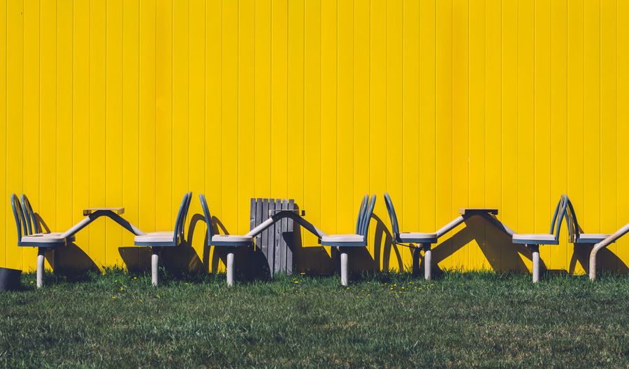 Absence Arrangement Chair Conformity Empty Group Of Objects In A Row Side By Side Yellow TakeoverContrast