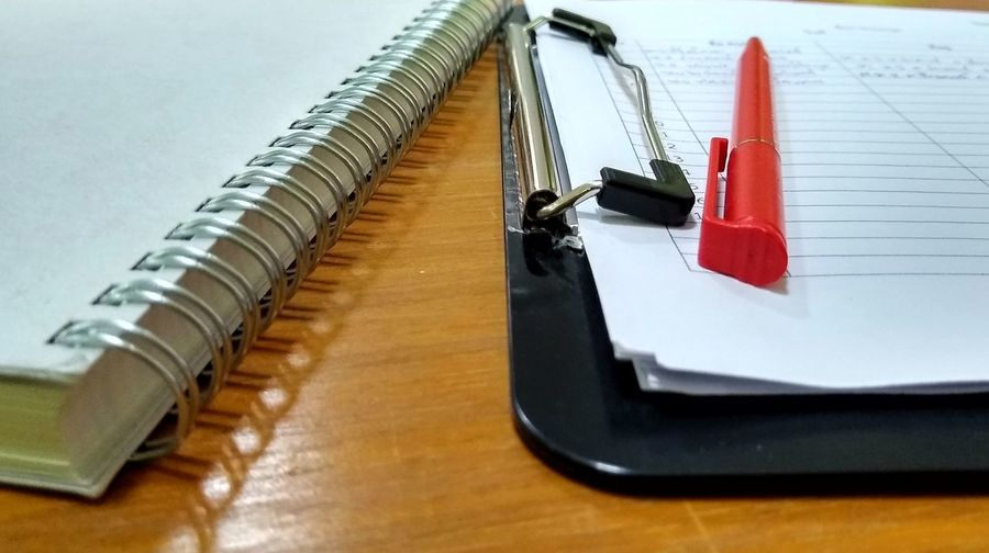 High angle view of pen on table
