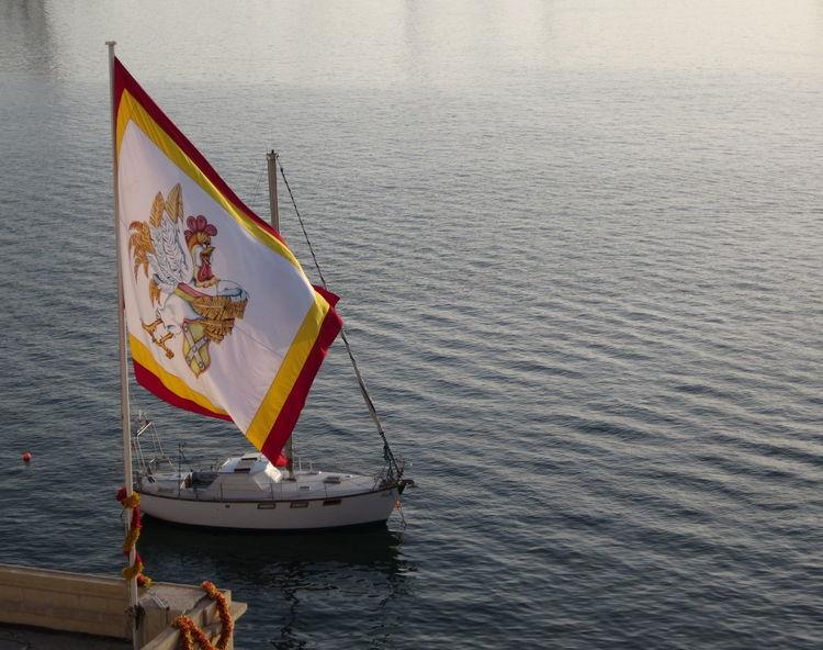 sailing ship, emblem Emblem  Fahne Outdoors Sailing Sailing Boat Sailing Ship Segelboot Wappen Water