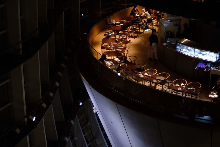 High angle view of illuminated lighting equipment at night