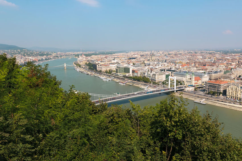 Great view over Budapest in Hungary and the Elisabeth Bridge in the foreground and the Chain Bridge in the background. Budapest Danube Elisabeth Bridge Hungary View Architecture Bridge Building Exterior Built Structure Chain Bridge Cityscape High Angle View No People Plant River Travel Destinations Tree Water