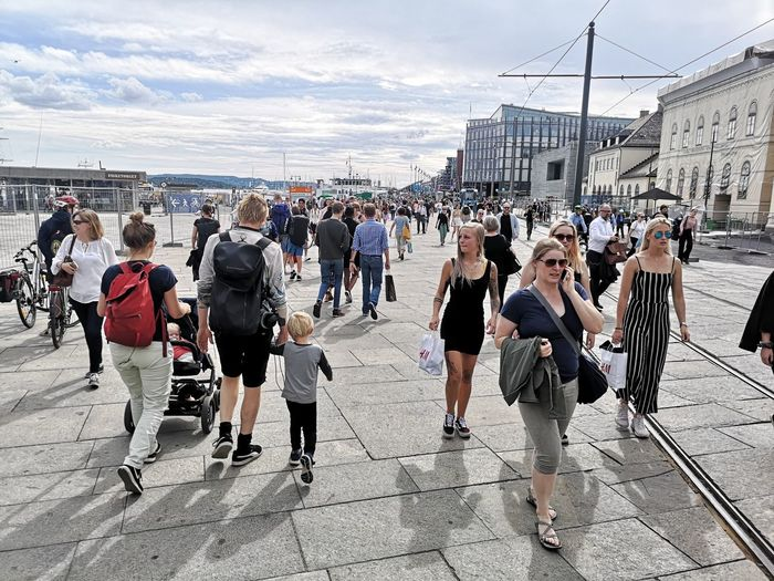 Oslo Norway City Life Seascape Crowd City Men Arts Culture And Entertainment Sky Shore Crowded Urban Scene Cityscape