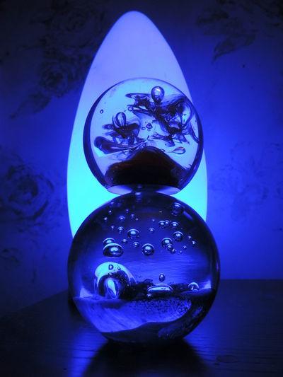 Beautiful Blue Blue Light Close-up Glass Ball Glass Objects  Night No People