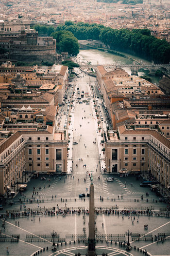 Architecture Building Exterior City Built Structure High Angle View Aerial View Building Cityscape Travel Destinations Day Water Outdoors Nature Environment Travel Town Tourism People Street Summer Warm Clothing Rome