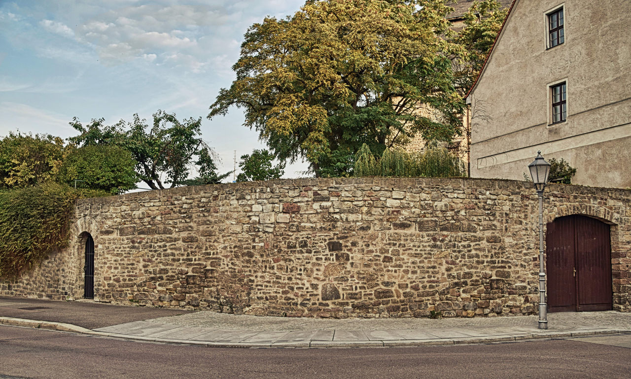 STONE WALL OF BUILDING WITH TREES