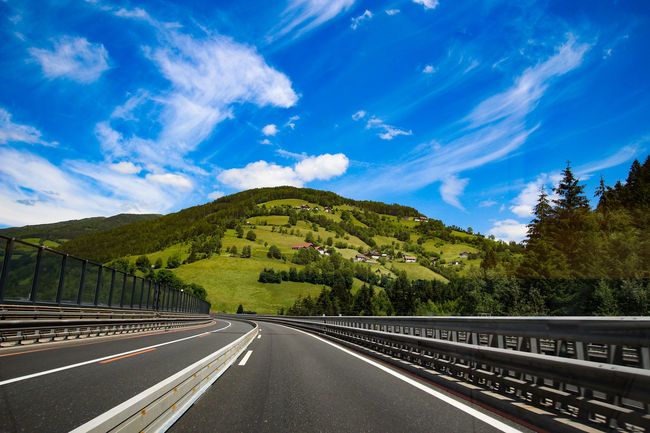 Summer Road Tripping EyeEm Selects City Tree Road Mountain Blue Sky Cloud - Sky Landscape Highway Overpass Car Point Of View Mountain Road