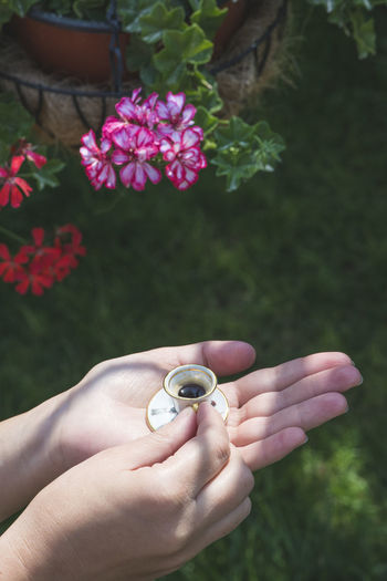 Close-up of hands holding tiny cup and saucer