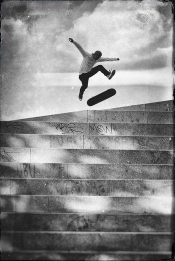 360flip Abstract Abstract Photography Art Artistic ArtWork Black And White Blackandwhite Copenhagen Copenhagen, Denmark Different Different Perspective Energetic Israels Plads Jumping One Person Pattern Real People Skateboardart Skateboarding Skater Skating Sky Stunt Vertical