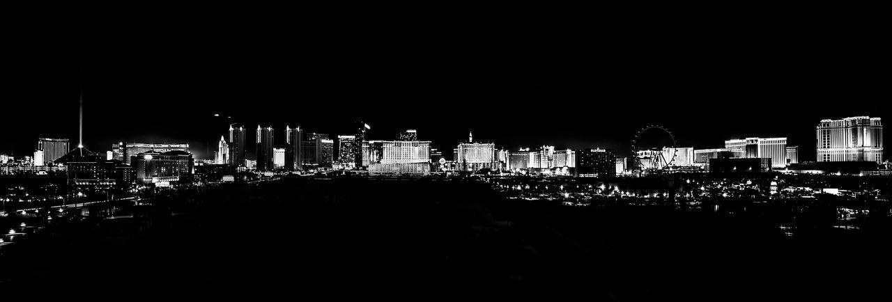 """Vegas / 01:27, Never sleep"" Architecture Building Exterior Built Structure City Cityscape Clear Sky Illuminated Modern Night No People Outdoors Sky Skyscraper Urban Skyline Eyem Select"