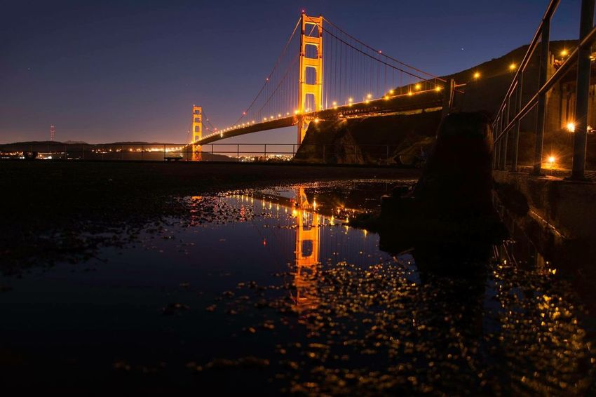 Bridge - Man Made Structure Connection Engineering Transportation Architecture Built Structure Travel Destinations Suspension Bridge Reflection Travel Water City Low Angle View Tourism Sky Outdoors Illuminated Night Tranquil Scene Sea California Love Travel No People California Golden Gate Bridge