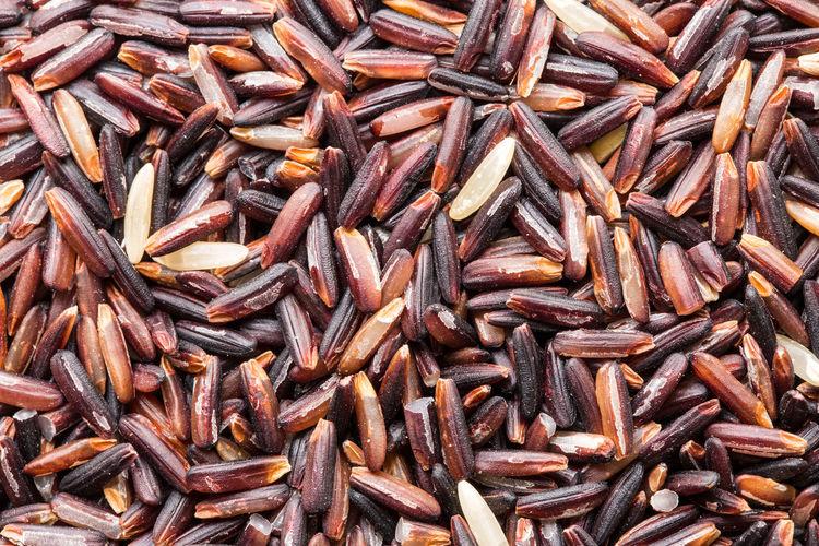 Full frame shot of black and red rice