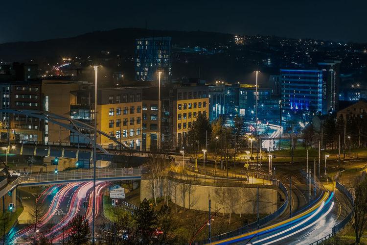 High angle shot of cityscape at night