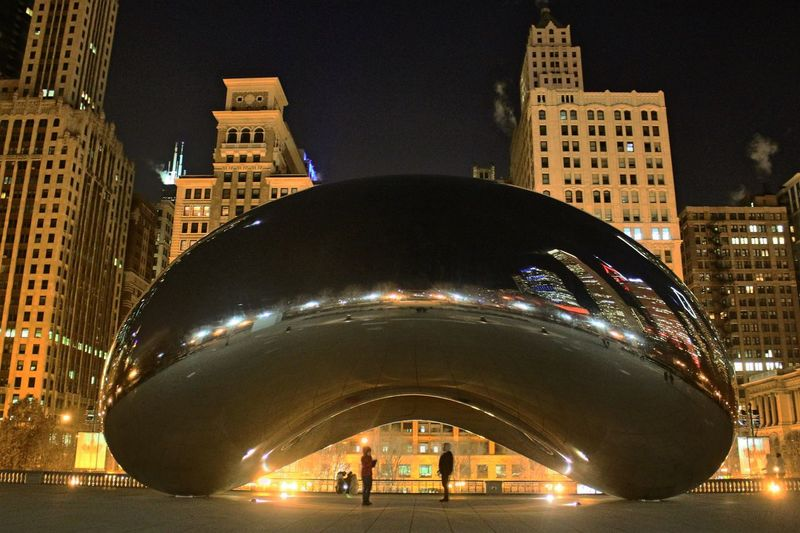 You and me Architecture Built Structure Night Illuminated Building Exterior Modern City Real People Skyscraper Travel Destinations Large Group Of People Fish-eye Lens Outdoors Sky People Chicago Nightout City Life