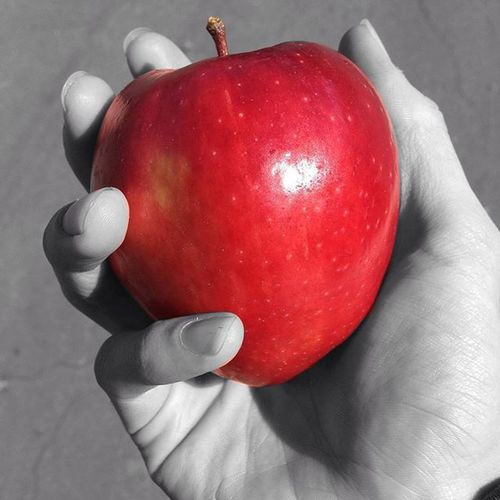 Repost - Edit. I just thought that draining the colors of the back made it even more apparent that this was the perfect apple. Goodmorning Apple Appleaday Fruit Photography Intensity Vibrance Repost Edit Nice Gala