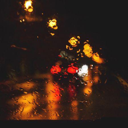 Rain Night Lights In The Dark Car Italy Winter