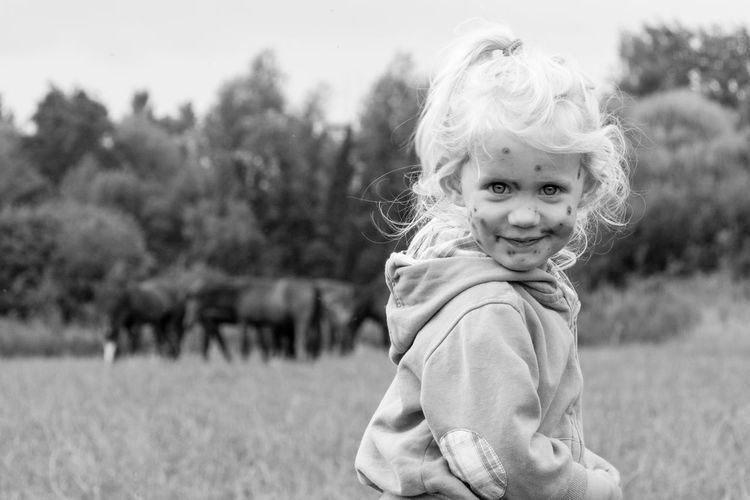 Emma Chicken Pox The Portraitist - 2018 EyeEm Awards Portrait Child Smiling Childhood Warm Clothing Happiness Looking At Camera Girls Cheerful