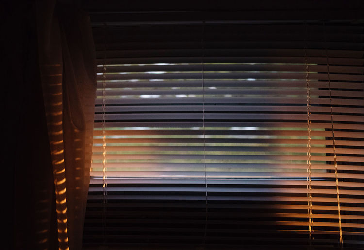 Sunlight streaming through window blinds
