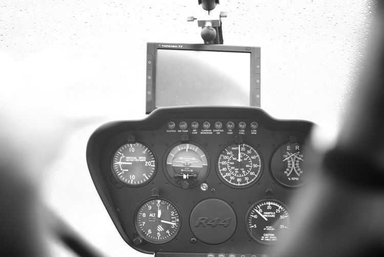 Cockpit of a Robinson R44 Helicopter