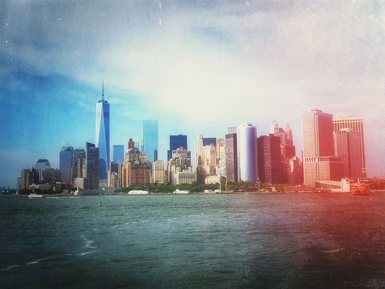 Floating on the Hudson River. NYC New York City Lower Manhattan