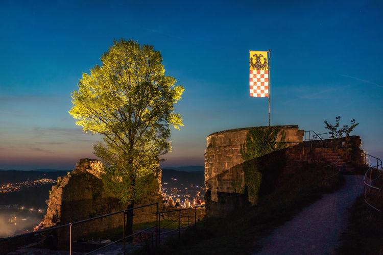 Burgruine Bodenlaube Evening Flag History Illuminated Night Sky Sommernacht Tree HUAWEI Photo Award: After Dark