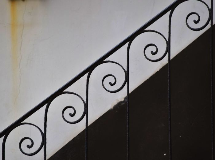 Black Color Close-up Day Geometric Shape Handrail Metal No People Stairs White