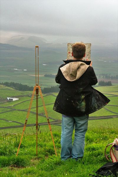 Agriculture Casual Clothing Coat Day Easel Farm Frame Freshness Full Length Hilltop Painter Painting Pasture, Paddock, Grassland, Pastureland Rear View Rural Scene Scenics Searching For Perfection When It Doesnt Exist Sky Tranquil Scene Vacations Terceira Island Looking To The Other Side Looking Into The Future People And Places