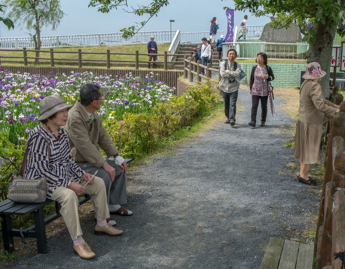 Locals in a park in Itako, Japan Casual Clothing Day Garden Outdoors Park Person Relax Rest Walking