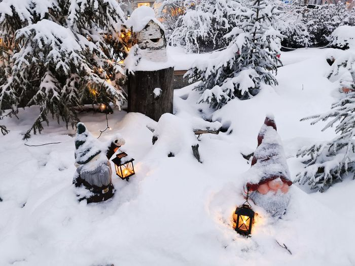 High angle view of snow covered christmas decoration in a city