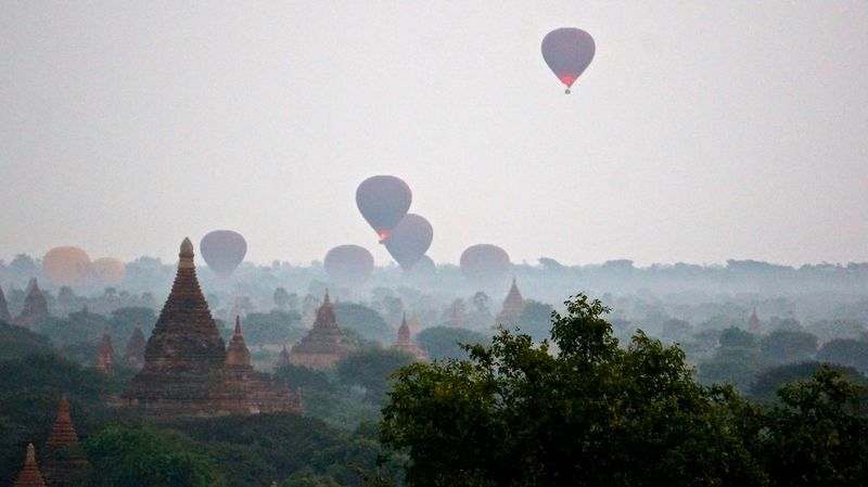 Balloons Over Pagodas In Bagan Cultures Flying Hot Air Balloon Myanmar Outdoors Pagoda Temple Tradition