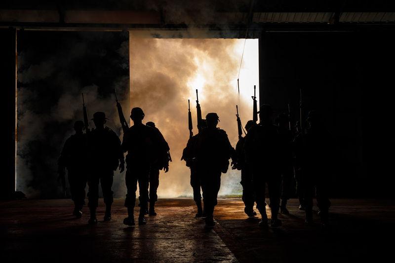 Adult Full Length Group Of People Men People Real People Silhouette Soldiers Uniform Standing Walking War