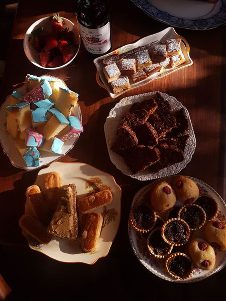 Afternoon delights Afternoon Tea Variation Close-up Pastry Donut Served Indulgence Unhealthy Eating Icing Sprinkles Dessert Temptation Chocolate