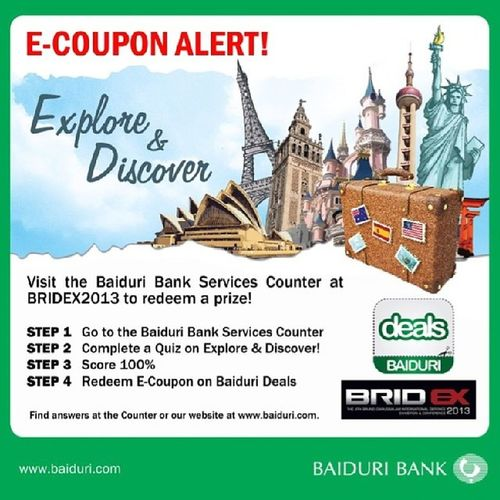In case you're planning in visiting Bridex why not drop by @baiduribank booth! Brunei Defense Random