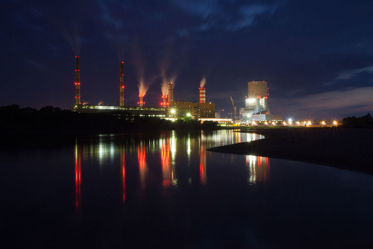 Power Stations Architecture Built Structure Capital Cities  City City Life Cityscape Cloud Cloud - Sky Glowing Illuminated Light Modern Multi Colored Night No People Outdoors Reflection River Sky Tall - High Tourism Travel Destinations Water Waterfront