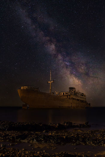 Tenerife. Wreck Astronomy Beauty In Nature Galaxy Illuminated Milkiway Milky Way Nature Nautical Vessel Night No People Outdoors Scenics Sea Ships⚓️⛵️🚢 Sky Star - Space Tenerife Tenerife Island Transportation Water Wrecked Wrecked Ship EyeEmNewHere Lost In The Landscape