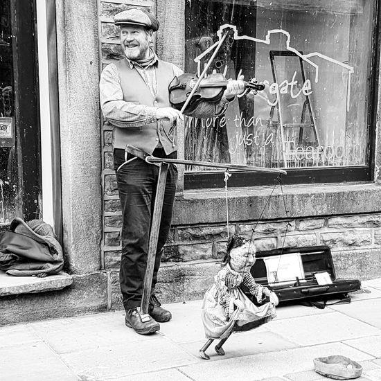 Violinist in Hebden Bridge with Puppet