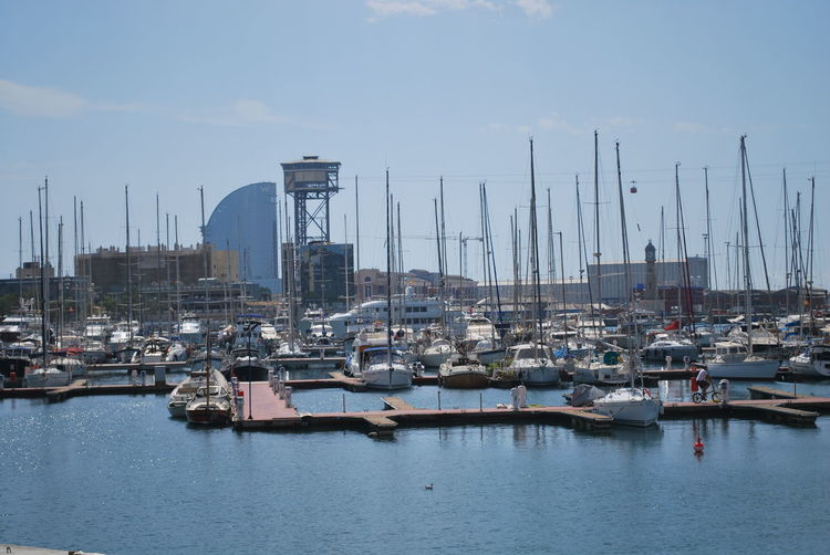 Barcelona Barcelona, Spain Beach Business Finance And Industry Catalonia Catalunya Commercial Dock Day Harbor Mast Mode Of Transport Moored Nature Nautical Vessel No People Outdoors Sailboat Sailing Ship Sea Sky SPAIN Transportation Water Yacht Yachting