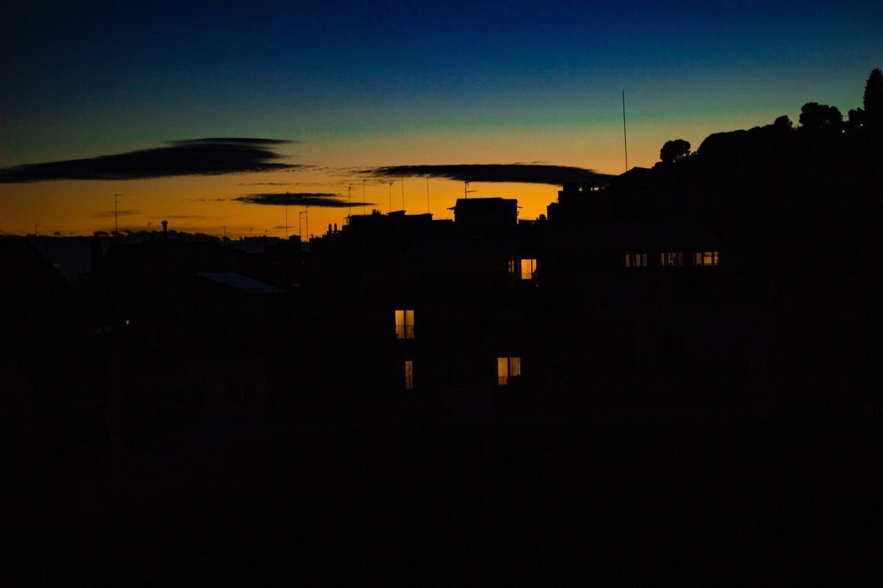 silhouette, architecture, building exterior, sky, built structure, sunset, dark, copy space, building, no people, nature, city, outdoors, night, illuminated, orange color, residential district, dusk, cityscape, landscape