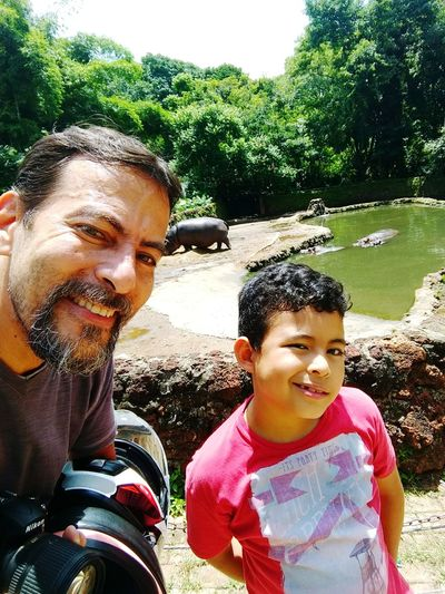 Zoológico de Goiânia Hipopotamó Two People Childhood Elementary Age Boys Day Togetherness Tree First Eyeem Photo